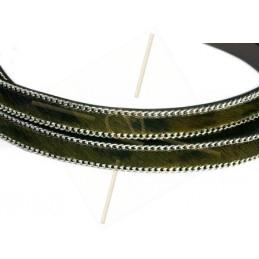 platte leder 10mm + zilveren ketting harige zwart