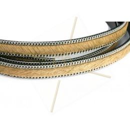 cuir plat 10 mm poilu + chaine argent beige