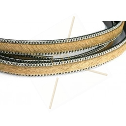 flat leather 10mm + silver chain hairy cream