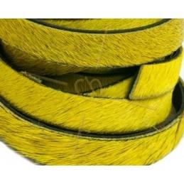 cuir plat 10 mm poilu + chaine argent jaune