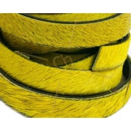 flat leather 10mm + silver chain hairy yellow