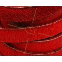 platte leder 10mm  behaard rood