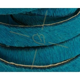 flat leather 10mm hairy turquoise