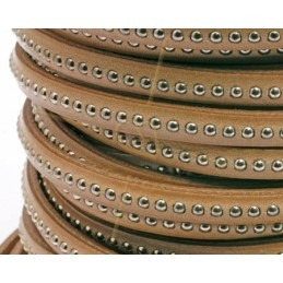 leather flat 5mm with metal ball natural
