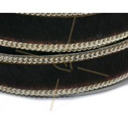 Cuir plat 10mm avec chaine brun fonce