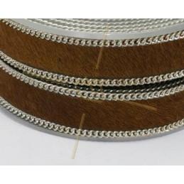 Cuir plat 10mm avec chaine brun