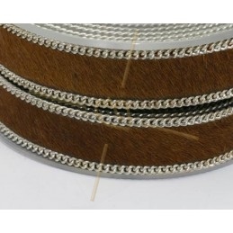 leather flat 10mm with chain brown