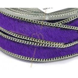 Cuir plat 10mm avec chaine violet