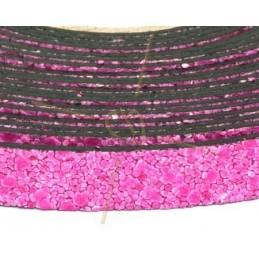 cuir plat 10mm sable fuchsia