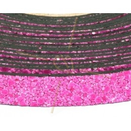 leder plat 10mm zand fuchsia