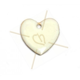 pendentif 16mm emaille blanc
