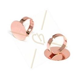 ring regelbaar plateau 16mm roze goud
