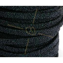 leder plat 5mm caviar zwart