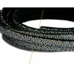 leather flat 5mm caviar light grey