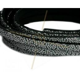 leder plat 5mm caviar lichtgrijs