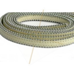 leder plat 10mm met ballketting Ivory