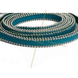 leder plat 10mm met ballketting Teal