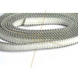 leder plat 10mm met ballketting wit