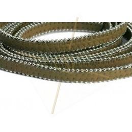 cuir plat 10mm avec chaine boule taupe