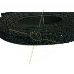 Leder plat 10mm caviar Marineblauw
