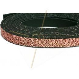 Cuir plat 10mm caviar vieux rose