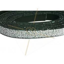 Leder plat 10mm caviar grijs