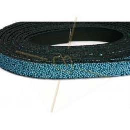 Leder plat 10mm caviar lichtblauw
