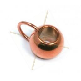 boule avec anneau pour 6mm cuir ou cordon or rose
