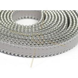 leder plat 10mm met ballketting lichtgrijs