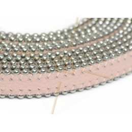 leather flat 10mm with ballchain pastel pink
