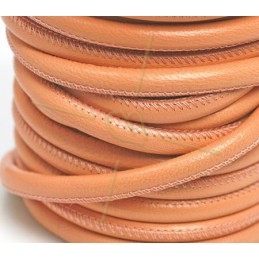 Leather round 6mm peach