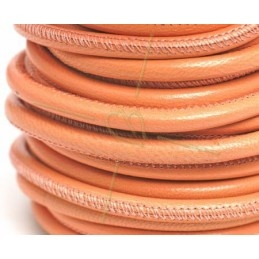 leather round 4mm peach