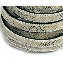 Cuir plat 10mm avec chaine reptile beige