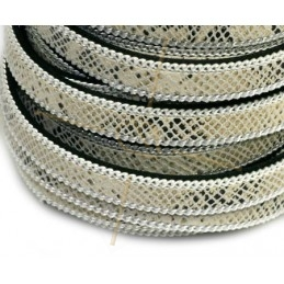 leather flat 10mm with chain reptile beige