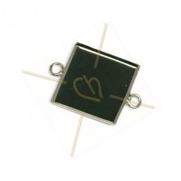 pendentif carré 15mm à 2 anneaux