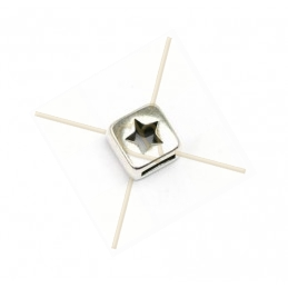 "leather spacer cube ""star"" for leather 5mm"