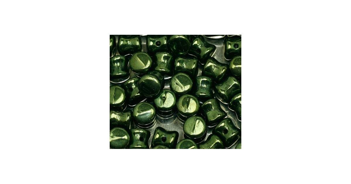 Pellet beads 4*6mm green metallic