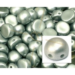 cabochon bead 2-hole 6mm Metallic Silver