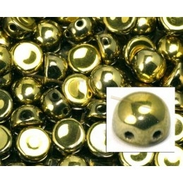 perle cabochon 2-hole 6mm Crystal Full Amber