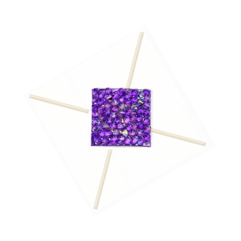 Rocks carre 15mm Cristal AB / Purple