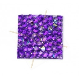 Rocks carre 20mm Cristal AB / Purple
