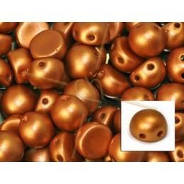 perle cabochon 2-hole 6mm Metallic Copper Mat