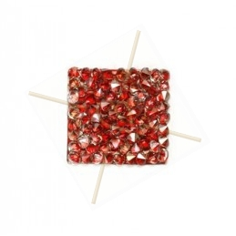 Rocks vierkant 15mm silver shade / rood metallic