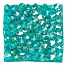 Rocks square 27mm Silver Shade / turquoise