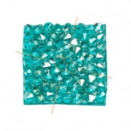 Rocks square 20mm silver shade / turquoise