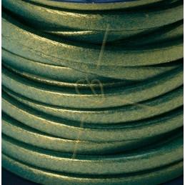 leder 5mm groen / gold