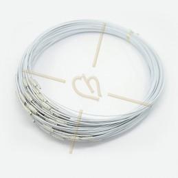collier fil acier 44cm avec fermoir blanc