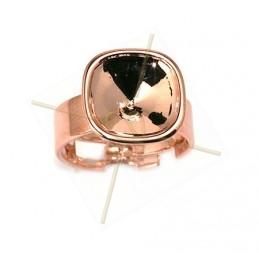 ring regelbaar met basis voor Swarovski 4470 12*12mm steen