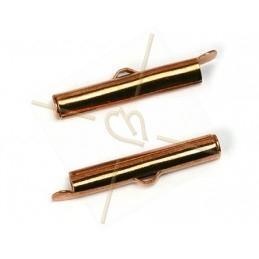 eindstukje 26mm  voor koord leder 4mm met ringetje rose gold