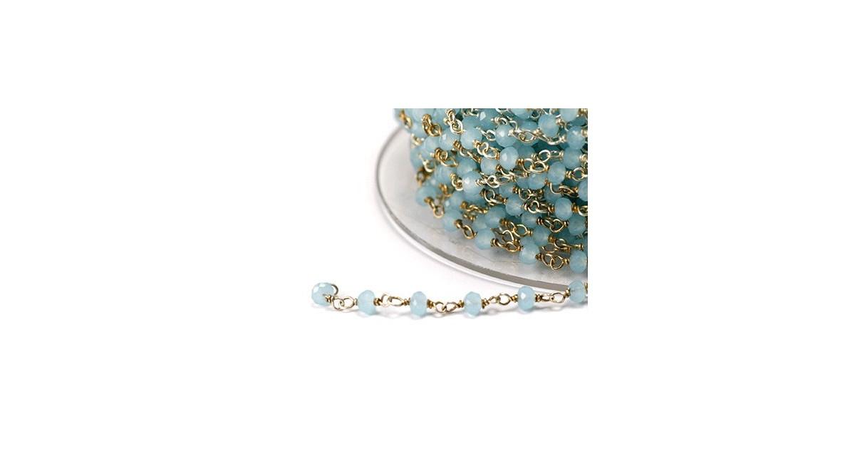 chaine argent avec pierres semi-precieuse bleu pastel